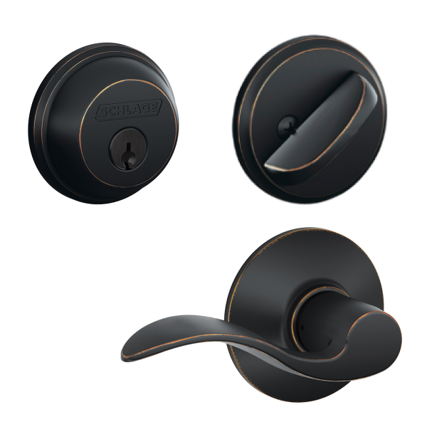 Schlage Accent Standard Deadbolt in Oil Rubbed Bronze color